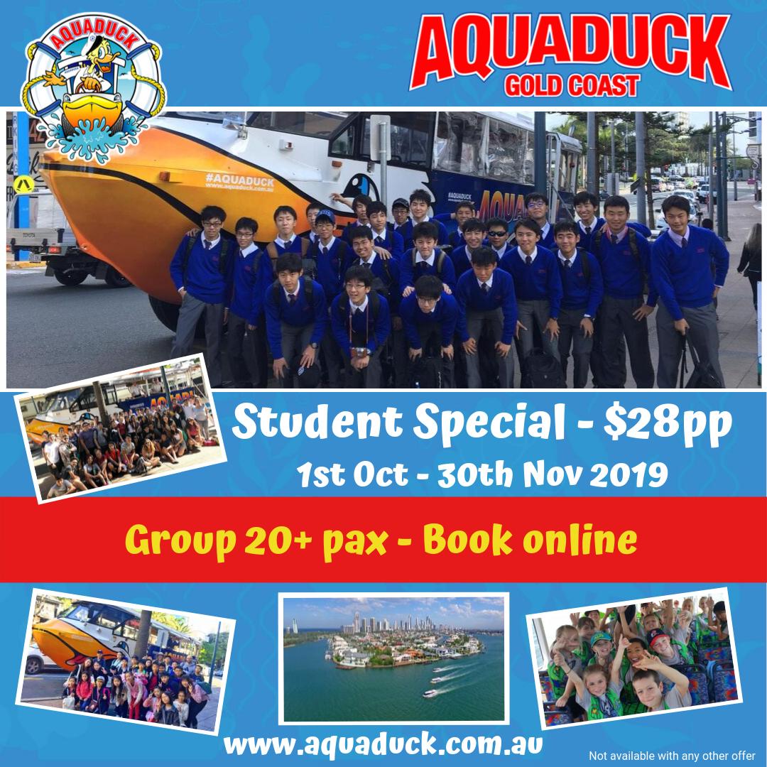 PROMO Aquaduck Gold Coast - Student Group Special