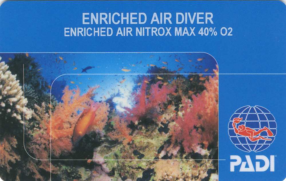 Padi Enriched Air Nitrox Diver Certification Specialty Course In
