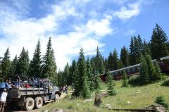 THE 5-HOUR RAILS & ZIP LINE TOUR.  RIDE THE HISTORIC LEADVILLE TRAIN, THEN ZIP LINE AT THE TOP OF THE ROCKY MOUNTAINS.  LUNCH IS INCLUDED, Gratuities not included. Available from May 26 to October 7th