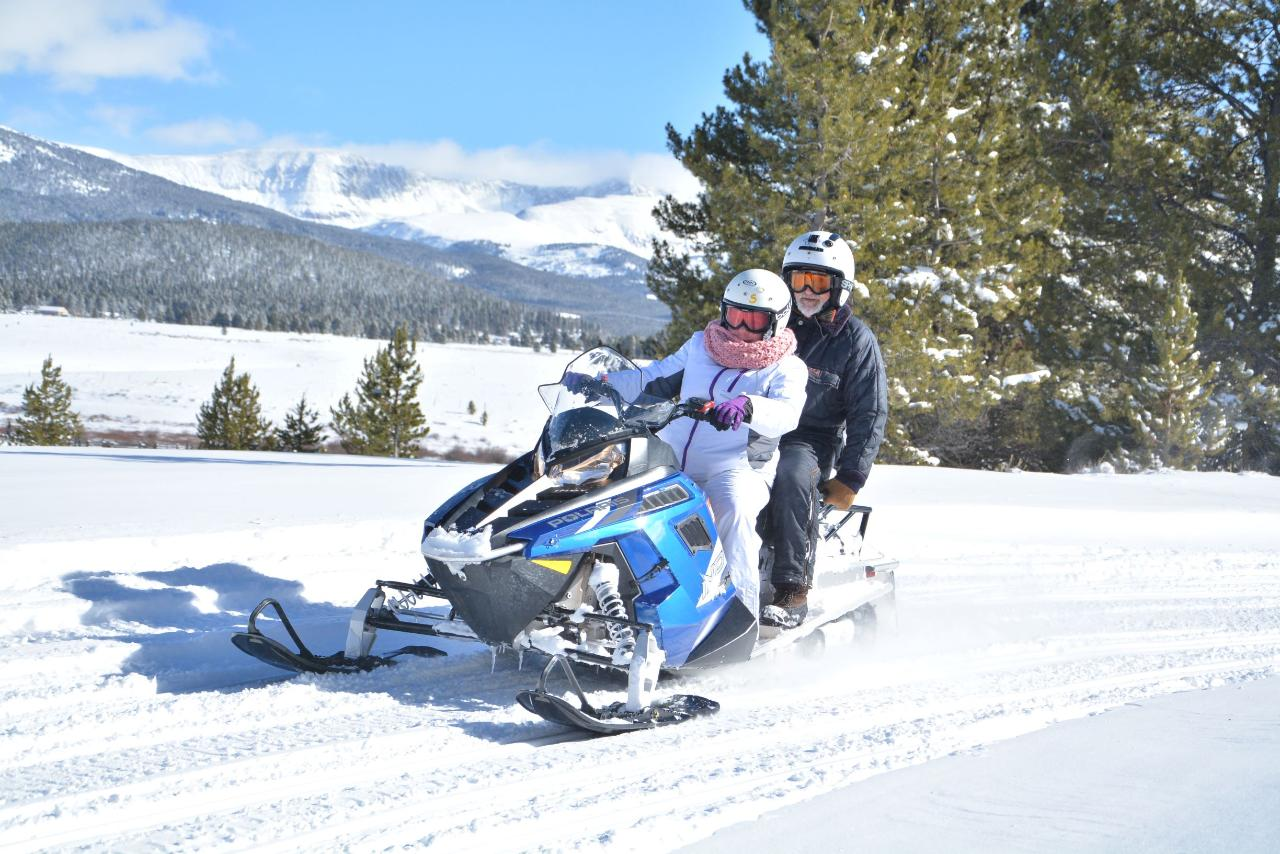 2-HR. PROSPECTOR SNOWMOBILE TOUR, FOR SINGLE RIDERS OR DRIVERS WITH PASSENGERS.  MEET AT PARKING LOT AT 1668 CO. ROAD 99 (GRAND WEST DRIVE) LEADVILLE, CO. 80481, ARRIVE 30 MINUTES TO TOUR TIME