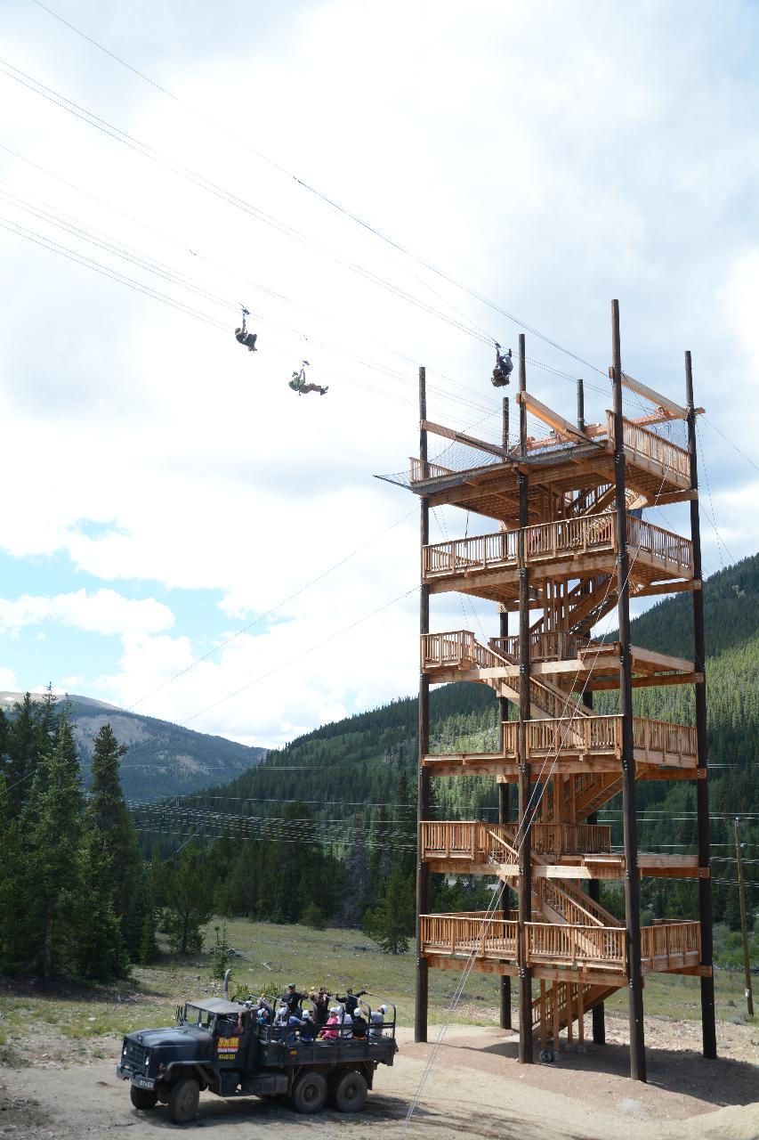 2-HOUR,  TOP OF THE ROCKIES ZIP LINE TOUR PLUS LUNCH.   SEE OLD GOLD MINING AREAS SURROUNDED BY THE HIGHEST MOUNTAINS IN NORTH AMERICA.  Available May 25 to October 15th, Gratuities not included.