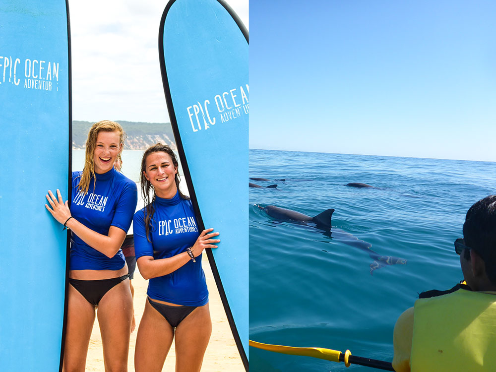 Ultimate Combo: Dolphin View Kayak Tour + Surf Lesson 4wd Beach Adventure Rainbow Beach