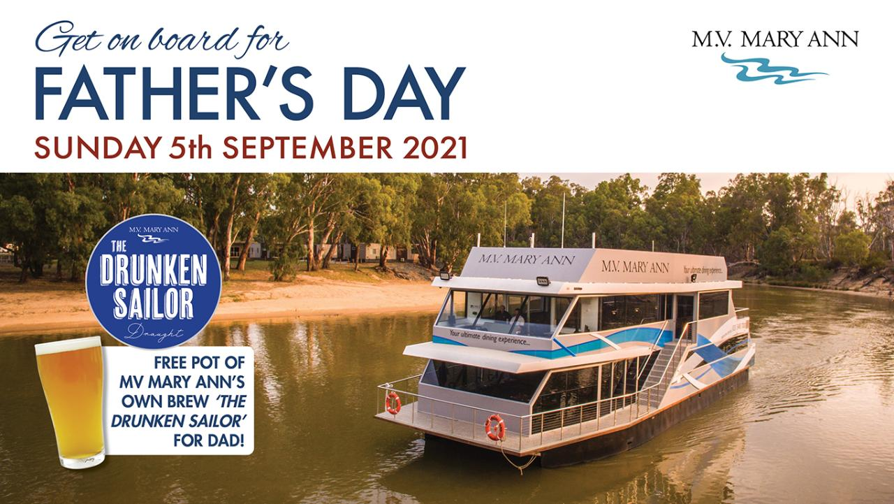 Fathers Day Lunch Cruise- Sunday 5th September 2021