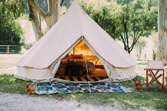 4 meter Luxury Furnished Canvas bell tent. CHOOSE YOUR OWN CAMPSITE