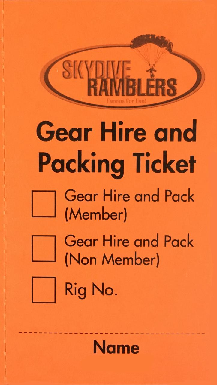 Gear Hire & Packing Ticket