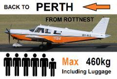 Rottnest to Perth (Jandakot), 4 to 6 passengers