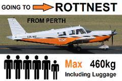 Perth (Jandakot) to Rottnest, 4 to 6 passengers