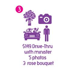 Drive Thru Ceremony: Minister, 5 Photos and 3 Rose Bouquet