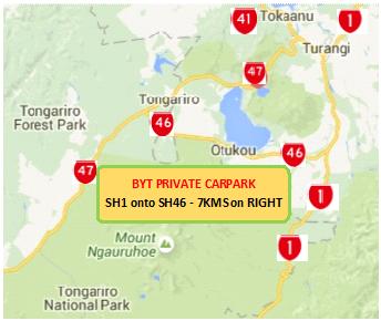 Tongariro Alpine Crossing: Backyard Tours Private Carpark (Google Maps) Round trip