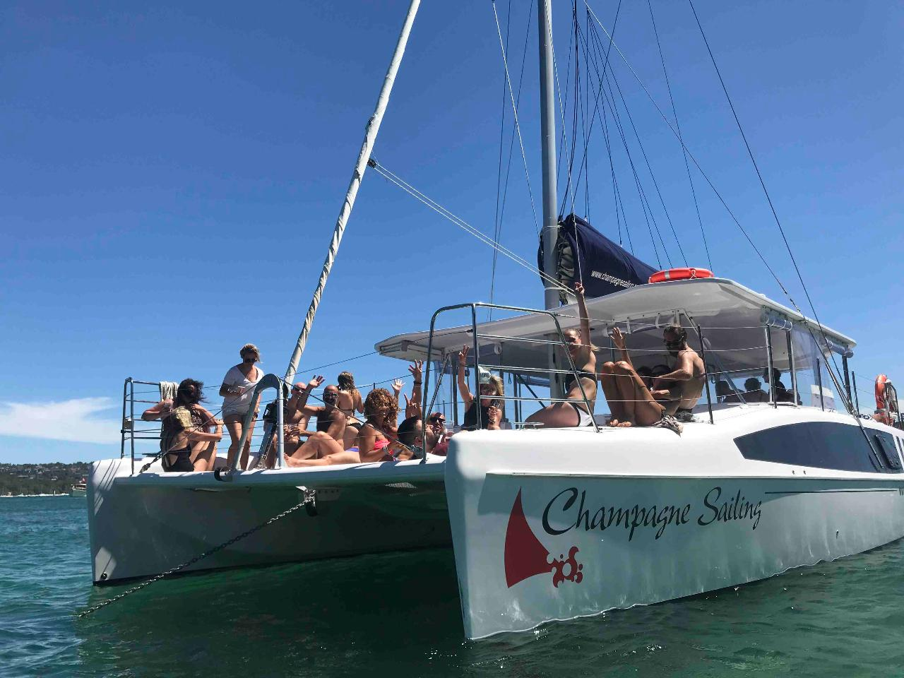 CHAMPAGNE SAILING Catamaran Hire for 31 – 43 guests (COVID Capacity max 22 people)