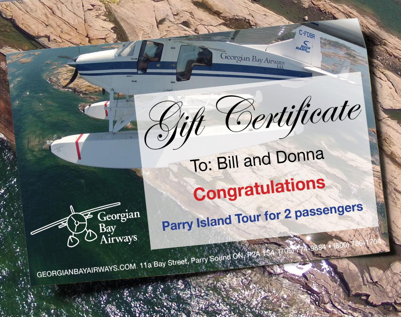 Parry Island Tour - Gift Certificate