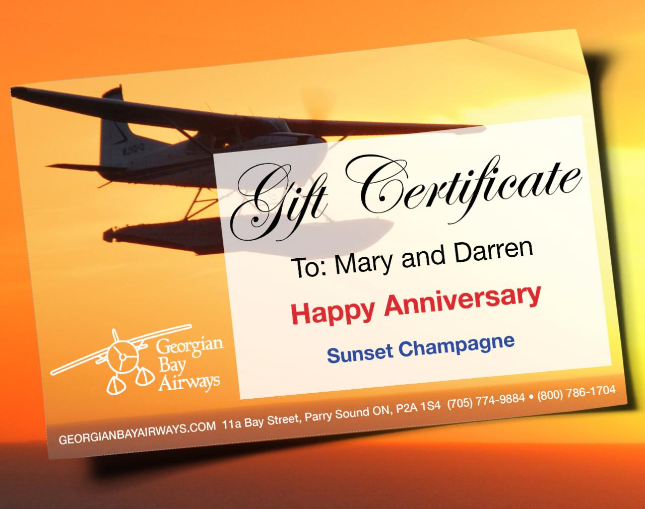 Sunset Champagne - Gift Certificate