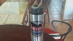 Sports water bottle Mexico Divers Straw