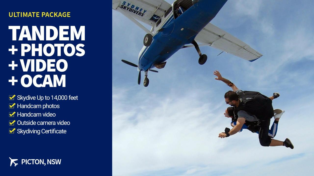 Tandem Skydive with Ultimate Video Package
