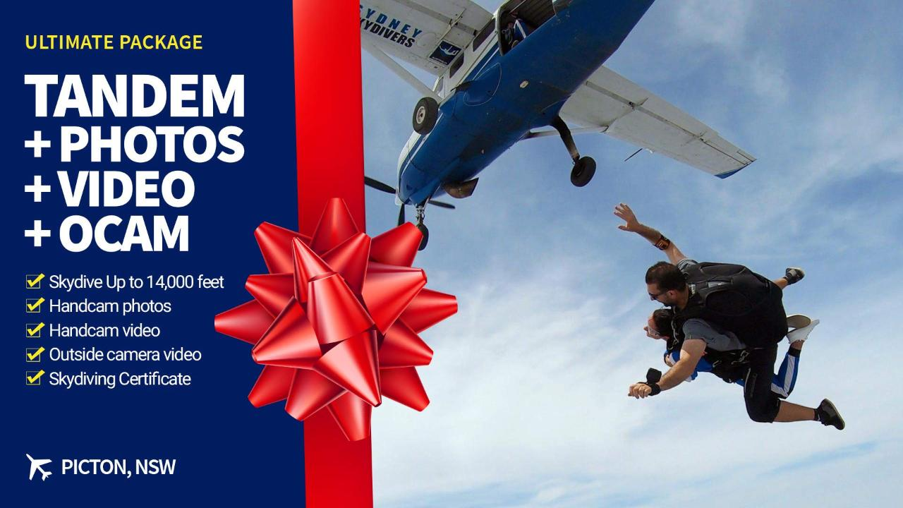 Gift Voucher Tandem Skydive with Ultimate Video Package