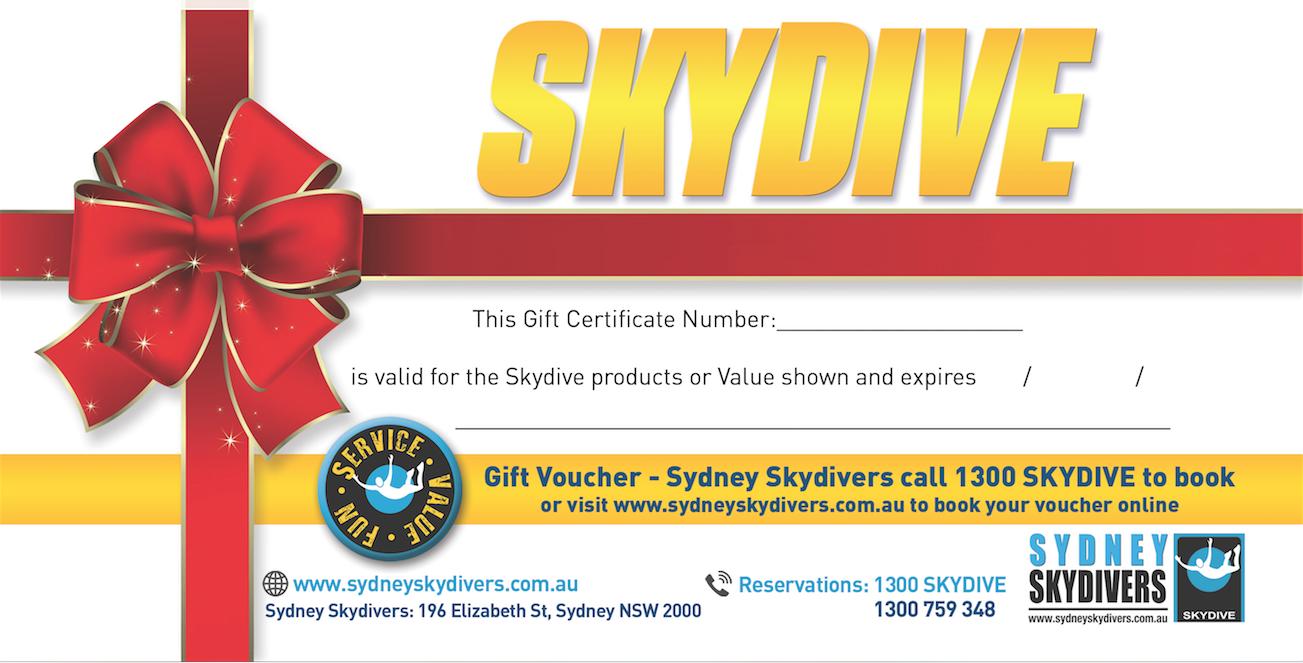 Skydive Gift Card Mon Fri Sydney Skydivers Reservations Voucher