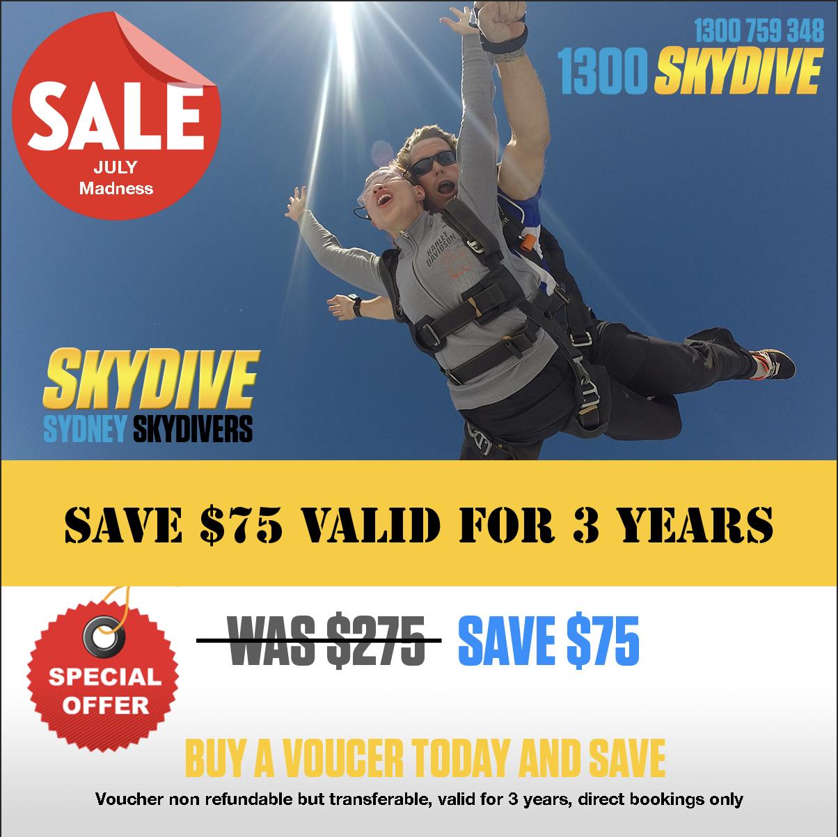 Tandem Skydive SAVE $75