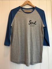 Soul Surf 'Belongil' 3/4 Sleeve Tee GREY/BLUE (International Post only)