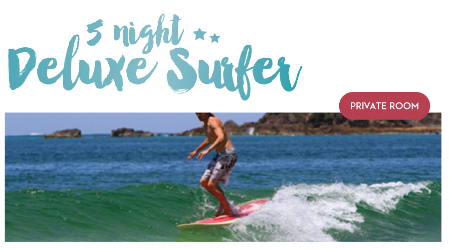 "5 Night Private  (1 Person) Surf and Stay "" The Deluxe Surfer Package"" PEAK SEASON"