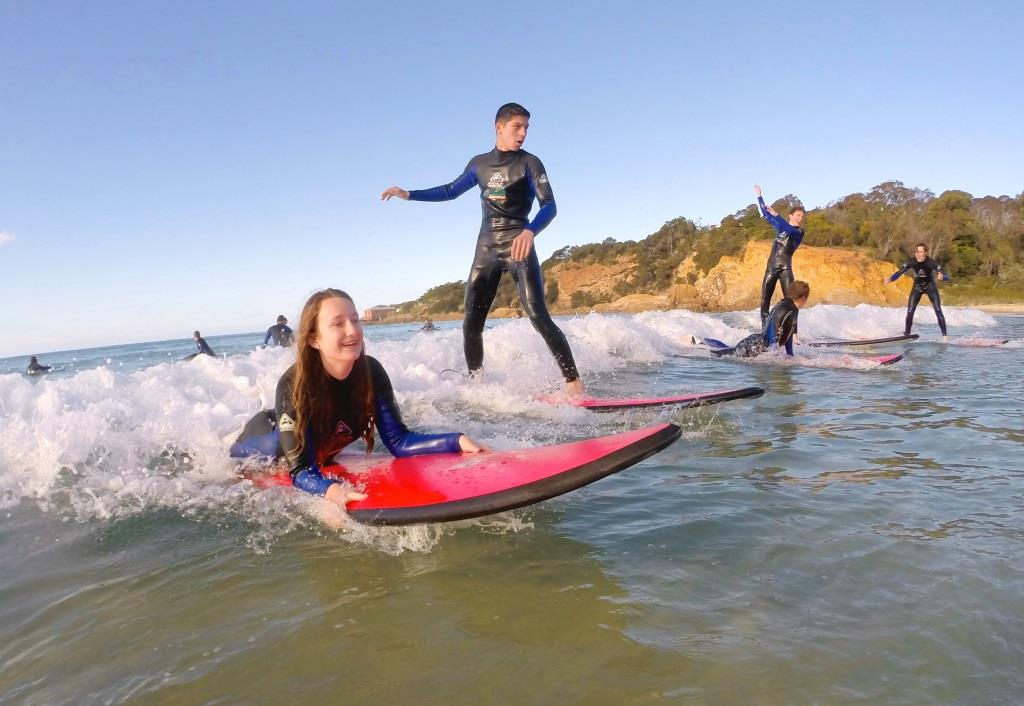 Group Surf Lesson at Pambula Beach