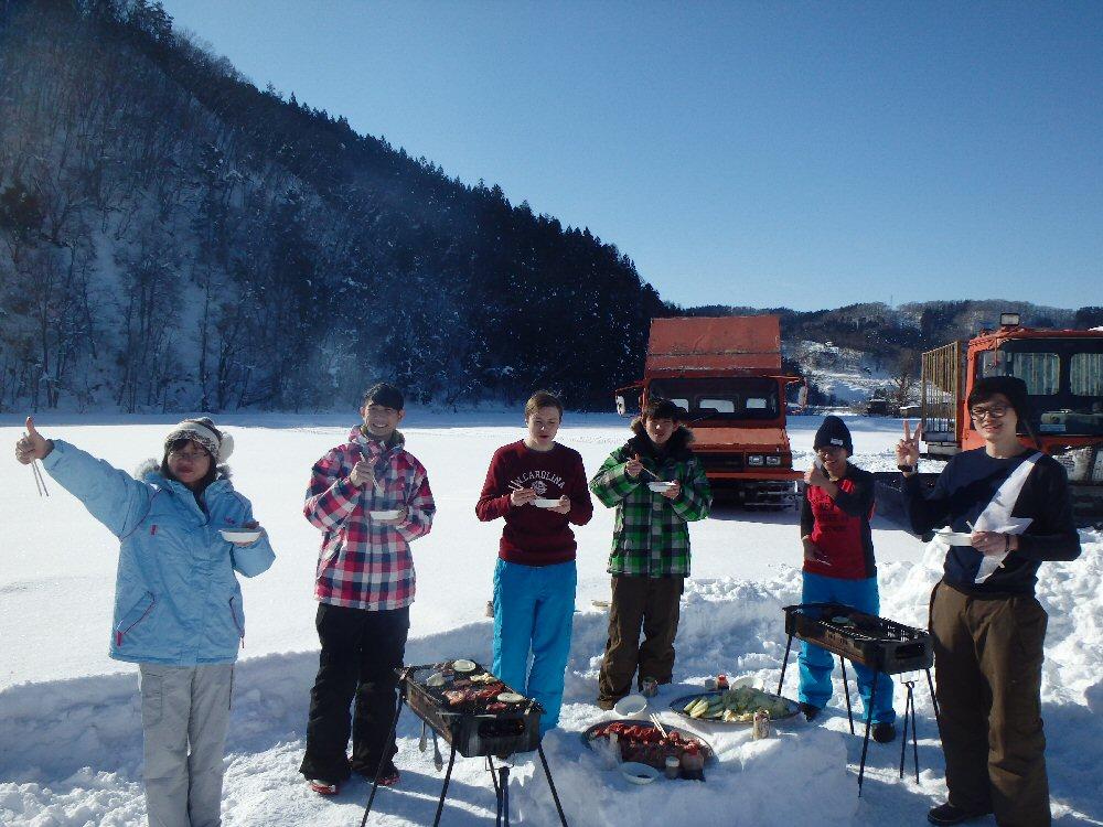 Snowshoe Trekking in Satoyama and BBQ on the snow in Aomori