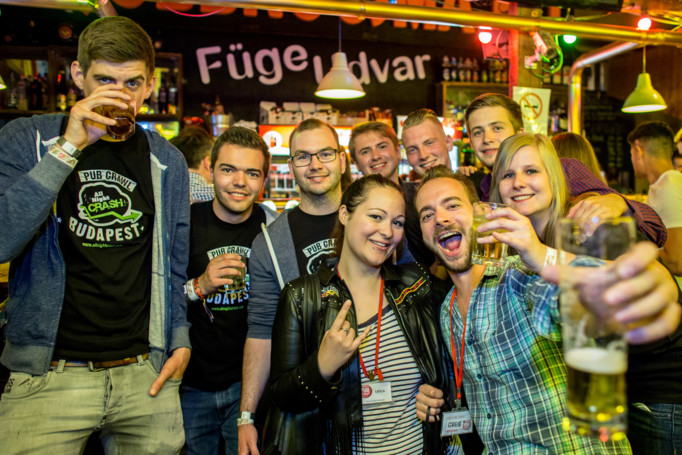 AllNightCrash Pub Crawl Budapest including Power Hour All You Can Drink For 40 minutes (+takeaway)