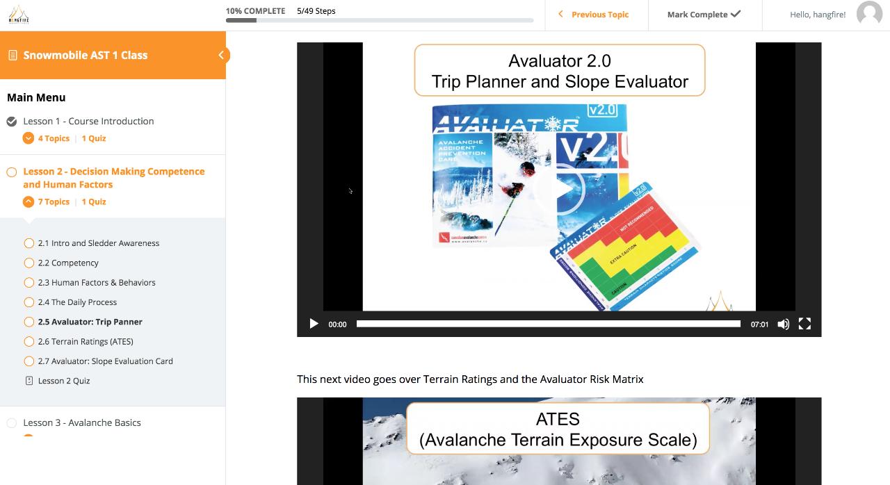 Snowmobile AST 1 Online Class