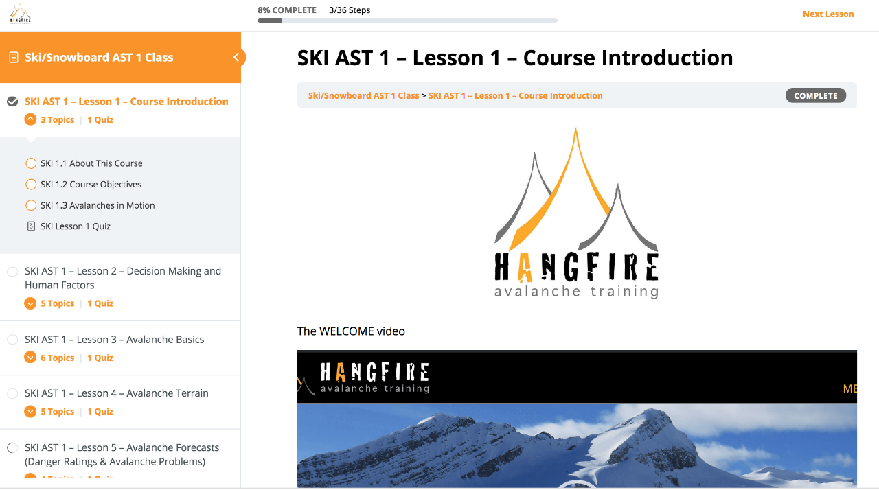 Ski/Board AST 1 Online Class