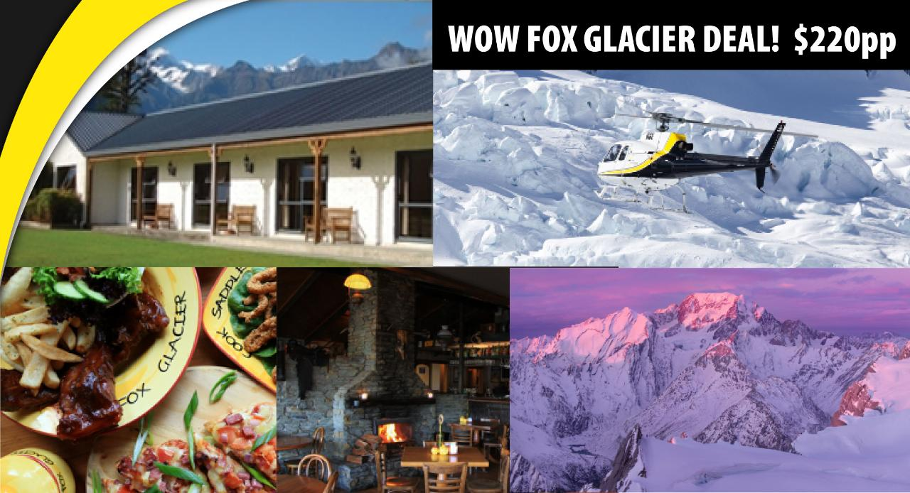 WOW FOX GLACIER • Accommodation, Flight & Lunch OR Dinner Package