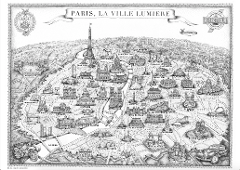 PARIS MAP By RETRO TOUR 11.5 x 16.5 inches (297 x 420 mm) FREE SHIPPING