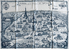 UNIQUE SCARF 100% SILK HANDMADE WITH OUR VINTAGE PARIS MAP PRINTED (FREE SHIPPING)