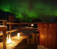 Wellness: Hot tub under the night sky