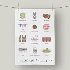 South Aussie Icons Linen Tea Towel