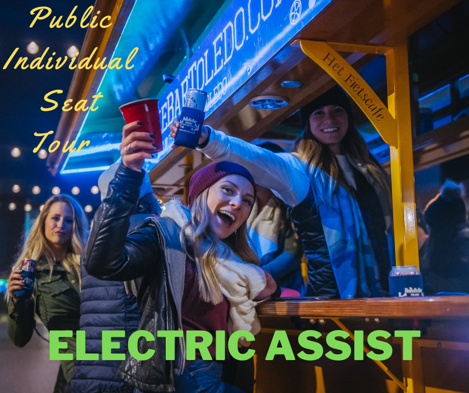 Public Individual Seat Tour - Electric Assist (1 to 16 riders - pay per rider)