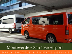 Shuttle Service from Monteverde to  San Jose Airport  8:00 am
