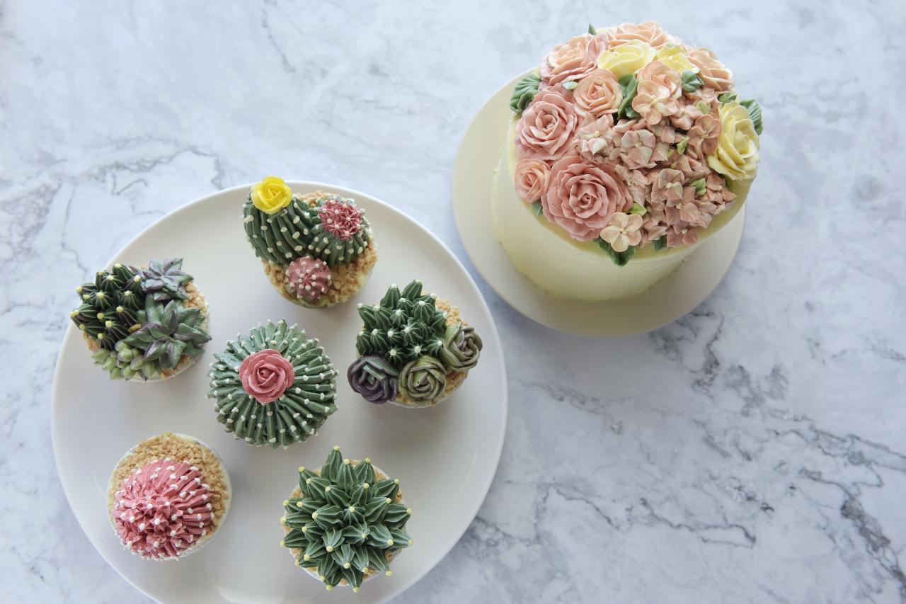 Buttercream Piping Succulent Art Cake Decoration Workshop A2 +B