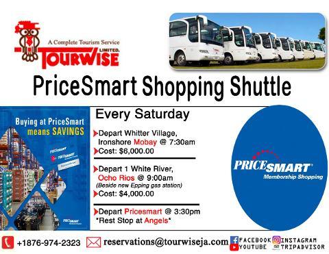 Pricesmart shuttle from Whitter Village Ironshore Montego Bay