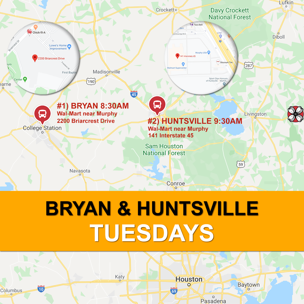 Bryan/Huntsville Route